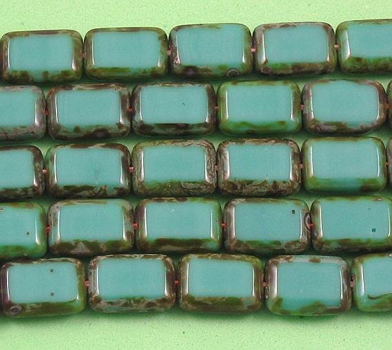Turquoise Czech Glass Rectangle Table Cut Window Beads