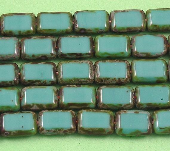 Turquoise Czech Glass Rectangle Table Cut Window Beads