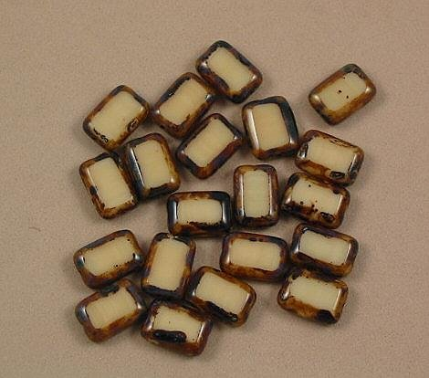Beige Cream Czech Glass Table Cut Rectangle Beads 10