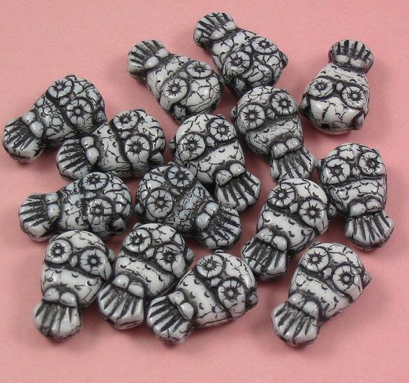 10 White with black Glass Owl beads
