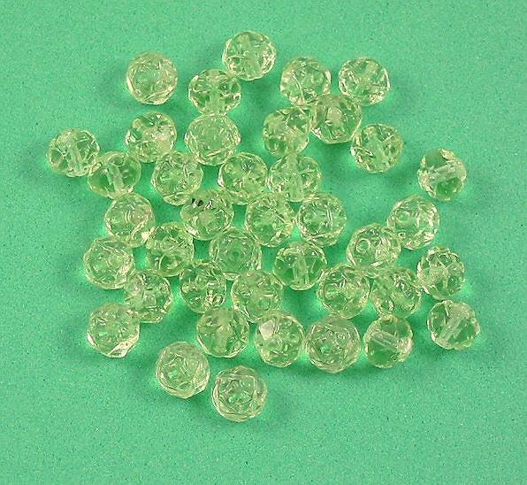 Czech Glass Rosebud Firepolish Beads Peridot green 20