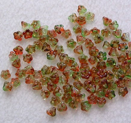 Czech Glass Baby Bell Flower Beads in Peach and Pear