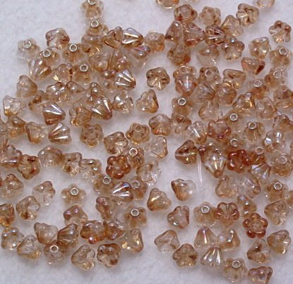 Czech Glass Baby Bell Flower Beads in Peach Luster