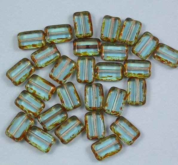 Aquamarie Picasso Glass Table Cut Window Beads