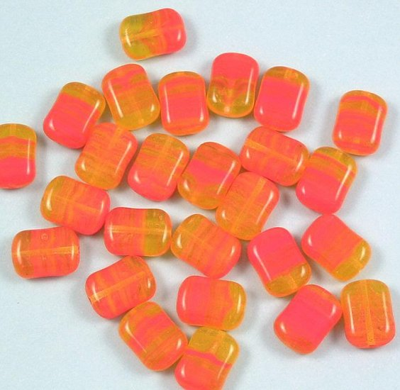 California Poppy rectangle glass beads