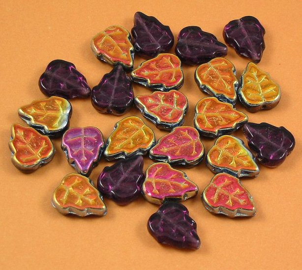 Two Sided Czech Glass Leaf Beads