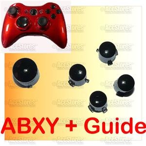BLACK ABXY A B X Y + Guide Button f Xbox360 Controller