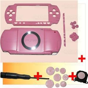 PSP 1000 Full Housing Shell Case Cover + Joystick PINK