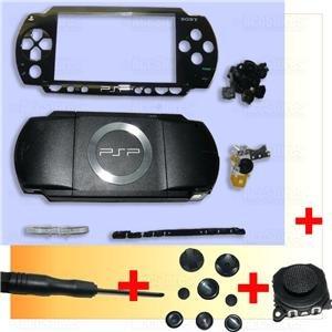 PSP 1000 Full Housing Shell Case Cover + Joystick BLACK
