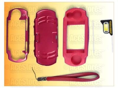 PSP 2000 Metal Case Silicone Cover Screen Protector RED