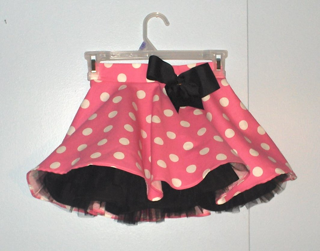 Pink and White Polka Dot Skirt And Petticoat