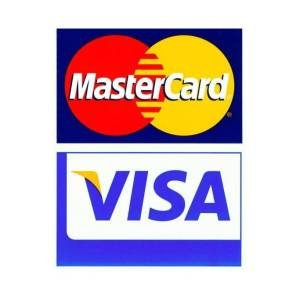 "VISA Mastercard Decal 4 3/8"" x 5 5/8"" $3.99 each"