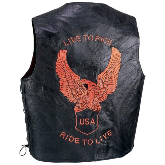 Diamond Plate� Genuine Leather Motorcycle Vest (Large)
