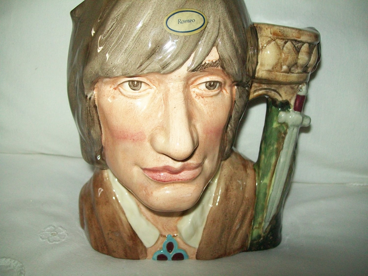 """Toby jug stands 7 1/2"""" tall and 6 1/2"""" wide. Romeo shakespearian collection"""