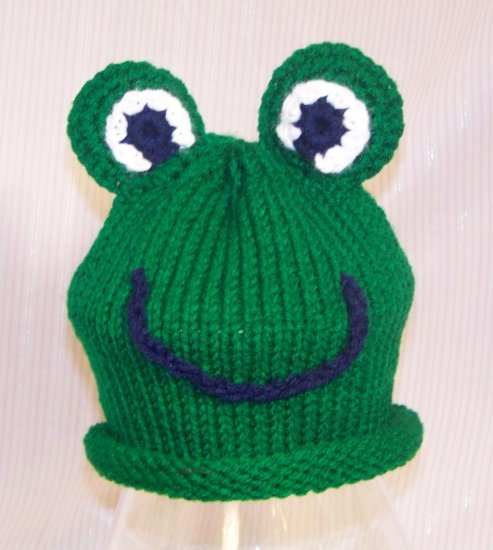 Knitting Pattern For Frog Hat : Baby Frog Knitted Hat Pattern