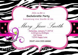 Custom Bridal Shower and or Bachelorette Zebra Invitations DIY Printables