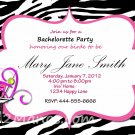 Custom Bridal Shower and or Bachelorette Zebra Invitations DIY Printables