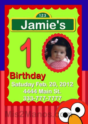 Custom Invitations Personalized DIGITAL Birthday Elmo Invite