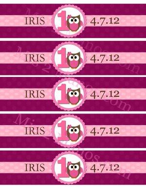 PRINTABLE DIY Water Bottle Label DIY - Owl Theme Pink Baby Owl