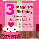 Birthday Cupcake Printable Party Invitation diy custom order