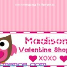 Owl Valentine's Treat Bag Topper- Owl Loves Candy Shop Set of 12