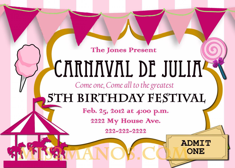 Carnival Birthday Party Invitation diy Printable Pink custom order – Carousel Party Invitations
