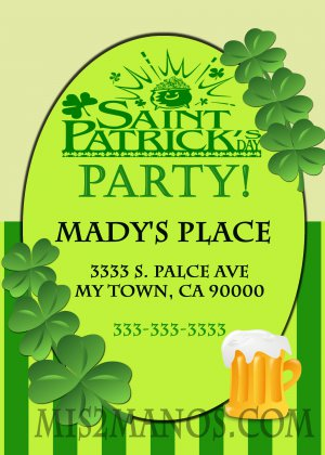 Saint Patrick's Day Invitation diy Printable Shamrock Party Invites Personalized Custom Orders