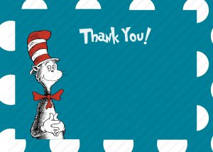 Cat in the Hat Thank You Card  Printable One Hour Printable Photo Dr. Suess Print at Home DIY