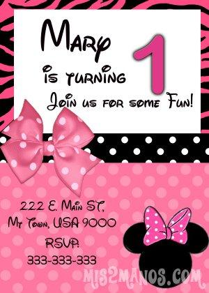 Minnie Birthday Invitation- Custom Printable Printable Party Invitation diy Print at Home
