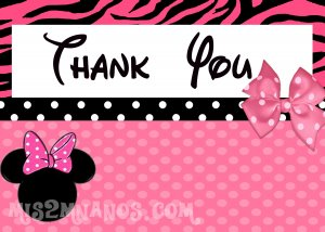 Minnie Birthday Thank You Note- Custom Printable Printable Party Invitation diy Print at Home
