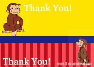 Curious George BirthdayThank You Card 5x7, One Hour Printable Photo