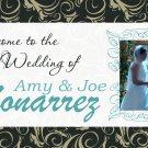 Wedding Banner 2'x4' Indoor/Outdoor: Brown Damask Custom Design w/Name or Store Logo