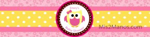 Water Bottle Labels - Owl Theme Pink Baby Owl SET of 20