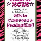 Graduation Invitation diy Printable Party Invites Personalized Custom Orders Zebra Pink Pattern