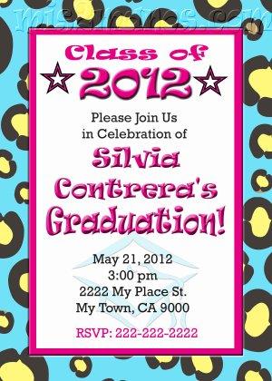 Graduation Invitation diy Printable Party Invites Personalized Custom Orders Cheetah Pattern