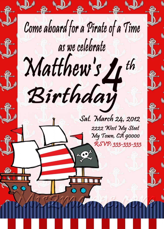 Pirates Theme Birthday Invitations Printable One Hour Photo Print At Home DIY