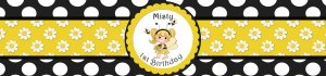 Custom Water Bottle Label -Black Yellow Bumble Bee Party or Baby Shower Set of 20