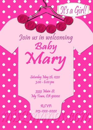 Baby Shower Onesie Girl Invitations Printable Pink Onesie custom order Party DIY Download and Print
