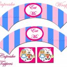 Cupcake Toppers Alice In Wonderland Cupcake Wrappers Printable DIY by Mis2Manos