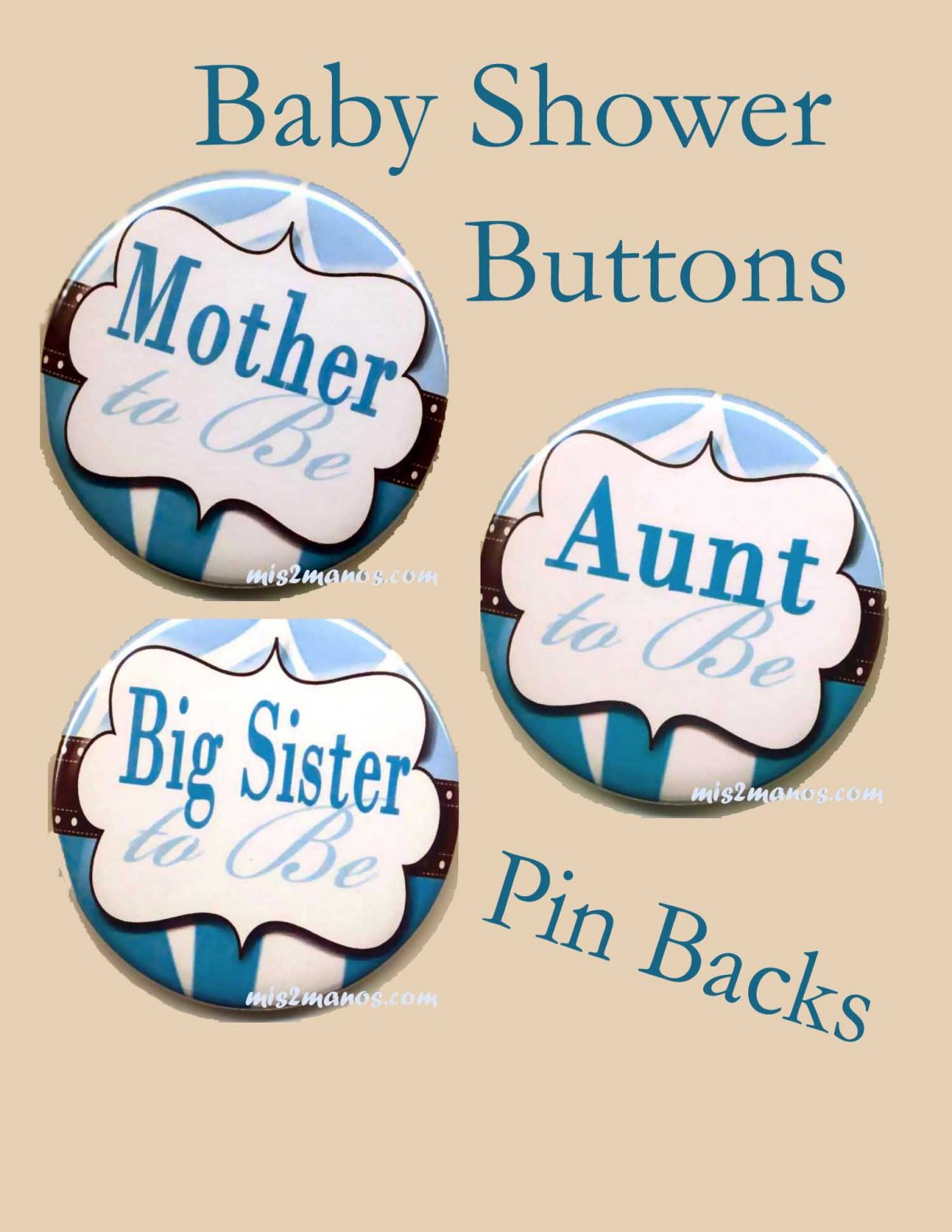 button badge baby shower pin back button personalized buttons set of 3