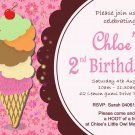 Icecream Party Invites Personalized Print at Home