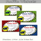 Comic Book - Diaper Raffle - Baby Shower - Set of 10