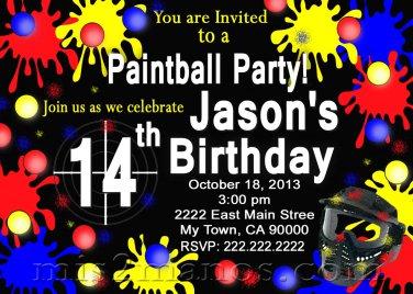 Paintball Birthday Party Invitation Teen Birthday Party, Boy Party Invitation Printable