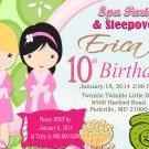 Sleepover Spa Party Birthday Invitation Girls Birthday  Printable Digital