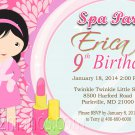 Spa Party Birthday Invitation Girls Birthday  Printable Digital