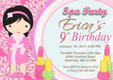 Spa Party Birthday Invitation Girls Birthday  Printable Digital