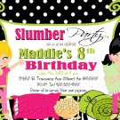 Slumber Party Invitation Sleepover Invite Birthday Party Girls Printable DIY Zebra pattern