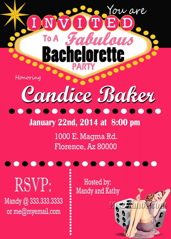 Casino Theme Party Las Vegas Bachelorette Party Invitation Retro