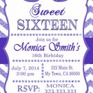 16th birthday invitation, Sweet Sixteen invitation,  Teen birthday Chevron Glitter Purple,