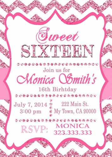 16th birthday invitation, Sweet Sixteen invitation,  Teen birthday Chevron Glitter Pink,